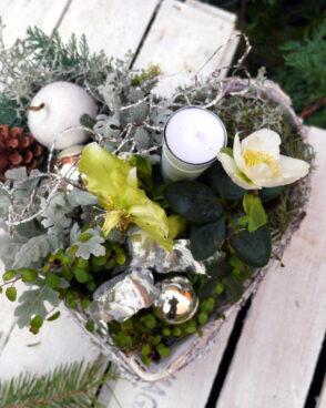 weihnachtliche Pflanzschale weiß